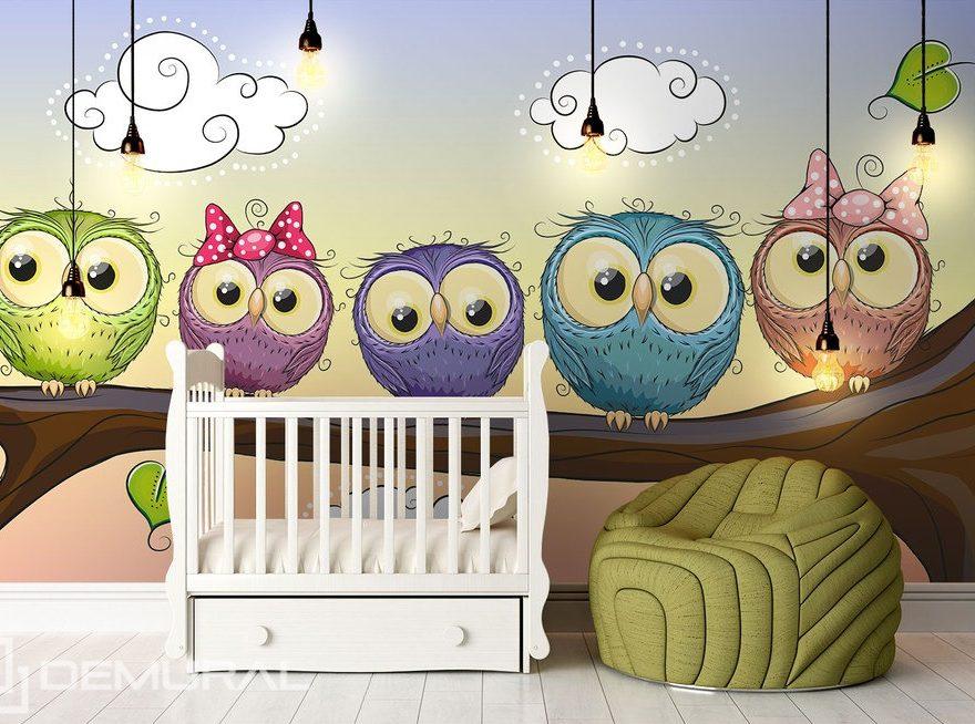 Sowie czuwanie - Puchacze na dobranoc - Fototapety dla dzieci