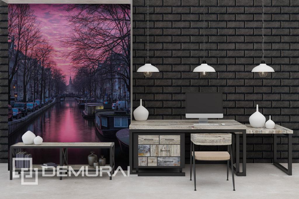 Fototapeta różowe niebo nad miastem - Motyw miasta na ścianie - Demural