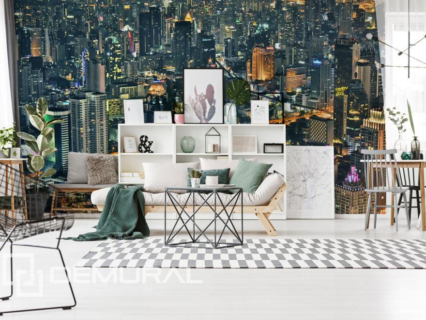 Fototapeta światła miasta - motyw miasta na ścianie - Demural