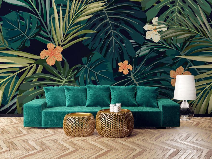 Fototapeta w tropikalne liście - Demural