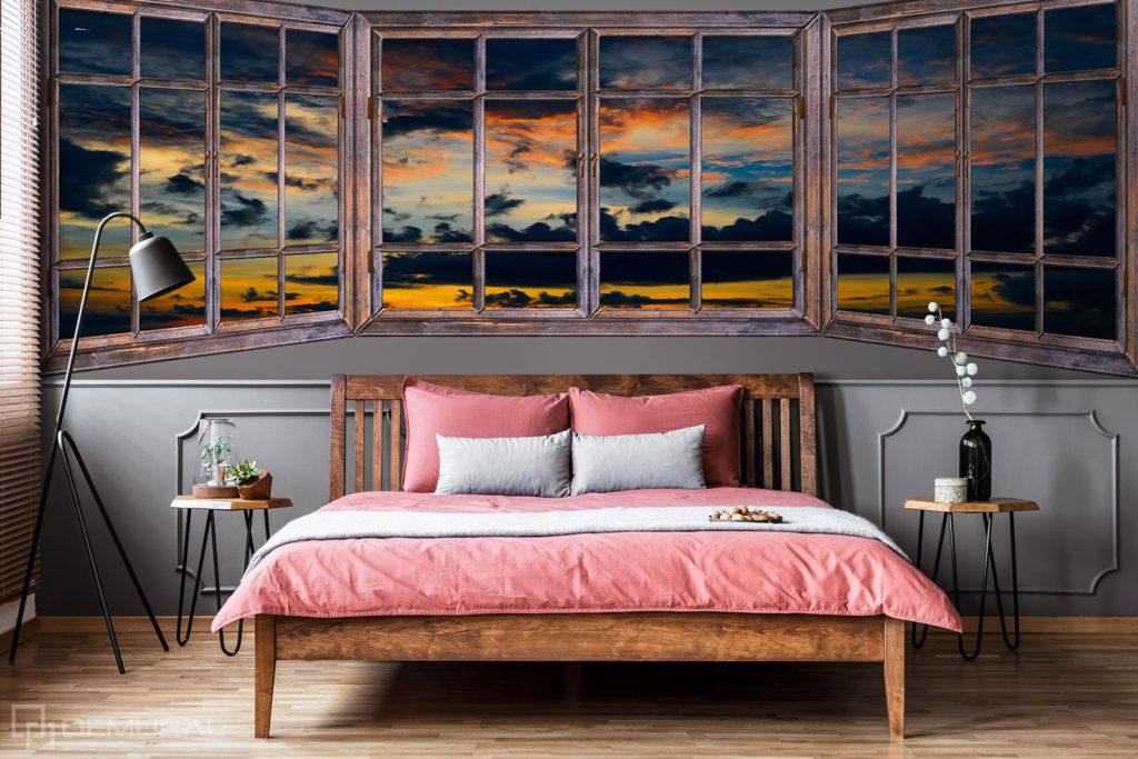 Fototapeta Zachód słońca za oknem - Fototapeta widok z okna - Demural