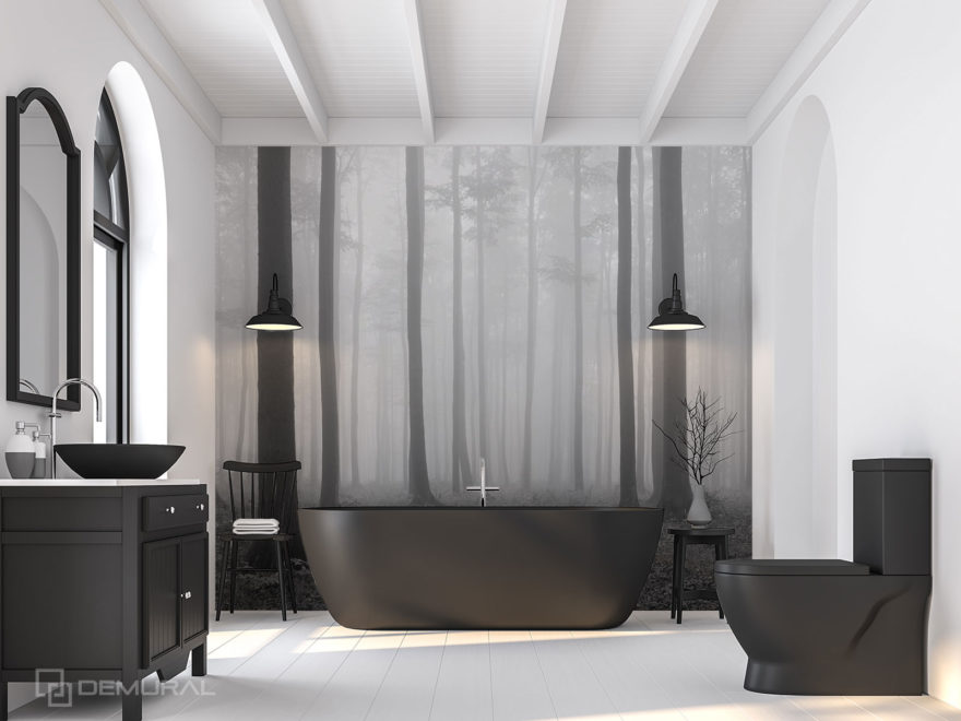 Czarno-biała fototapeta do łazienki - Demural