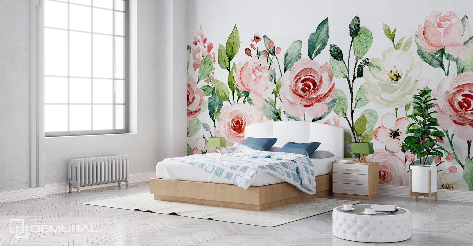 Fototapeta Kwiaty w akwareli - Fototapeta z kwiatami - Demural