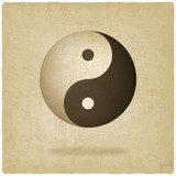 Yin yang old background - vector illustration