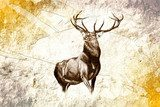 antique stag art drawing handmade nature