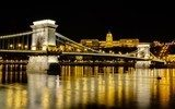 Chain Bridge and Buda Castle at night, Budapest, Hungary