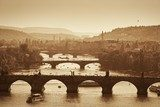View at The Charles Bridge  and Vltava river, Sepia