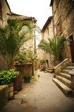Narrow Alley With Old Buildings In Typical Italian Medieval Town