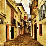 street of Dalt Vila, the old town of Ibiza Town, in Balearic Isl