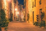 The Italian town late at night in Tuscany