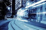 urban city traffic trails with blue tone effect