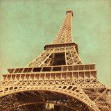 Grunge image  of  Eiffel Tower.