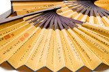 Close up oriental wooden fan background