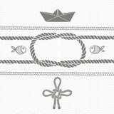 Nautical card with frame, marine knots, ropes, boat and fish.