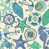 Seamless pattern of sea animals and nautical elements