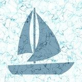 Seamless sailing boat generated texture background in blue and white