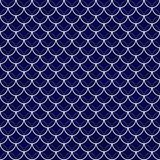 Navy and White Shells with Interlocking Circles Tiles Pattern Re