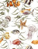 Watercolor sea life seamless pattern, underwater watercolor