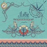 Marine Decorative Elements on Vintage Background