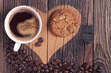 Coffee, cookie and heart