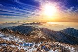 Winter landscape with sunset and foggy in Deogyusan mountains, S
