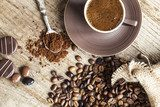 Turkish coffee on wooden background