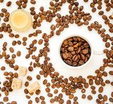 coffee beans on white table top view pattern