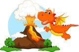 Cute dragon cartoon with volcano background