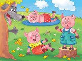 Three little pigs. English Fairy tale. Three little cute pigs are playing on the grass and a big wolf is watching them. Illustration for children. Cartoon character.