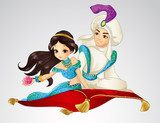 Aladdin And Princess On Flying Carpet