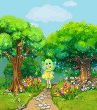 Fairy walking on a path through the magical forest. Illustration for children.