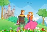 happy cartoon prince and princess with a castle background