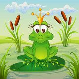 Princess frog sitting on leaf of water lily