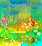 Little fawn looking at his reflection in the water. Vector cartoon image.