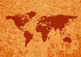World map on rusty background