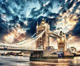 Beautiful sunset colors over famous Tower Bridge in London