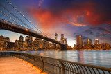 Brooklyn Bridge Park, New York City. Spectacular sunset view of