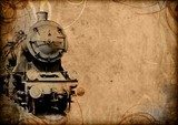 retro vintage technology, old train, grunge background