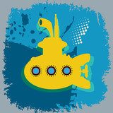 Yellow submarine abstract, vector illustration