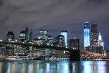 Brooklyn Bridge and Manhattan Skyline At Night, New York City