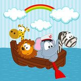 animals in the boat - vector illustration