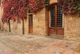 picturesque street in small old tuscan town  in autumnal colors