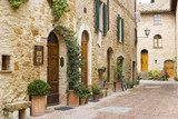 lovely tuscan street, Pienza, Italy