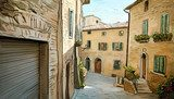 Street in Tuscany - illustration