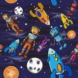 Seamless pattern cartoon children astronauts