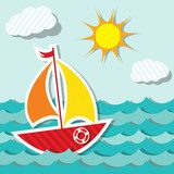 Vector sailing boat sticker