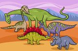dinosaurs group cartoon illustration