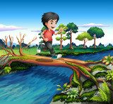A boy running while crossing the river