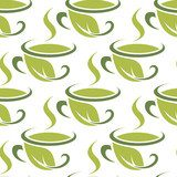 Fresh green herbal tea seamless pattern