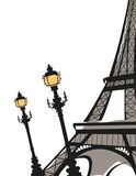 Eiffel Tower with Street Lights